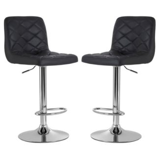 An Image of Terot Grey Faux Leather Gas Lift Bar Stools In Pair