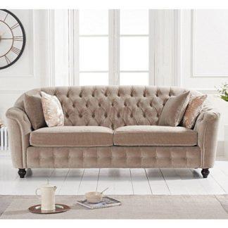 An Image of Karrio Velvet Upholstered 3 Seater Sofa In Mink