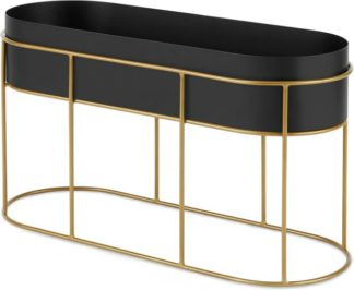 An Image of Echo Free Standing Oval High Powercoated Plant Stand, Black & Metallic Gold