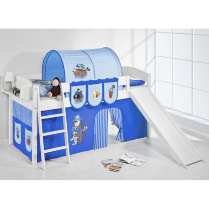 An Image of Lilla Slide Children Bed In White With Pirate Blue Curtains