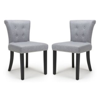 An Image of Sandringham Silver Grey Linen Effect Accent Chairs In Pair