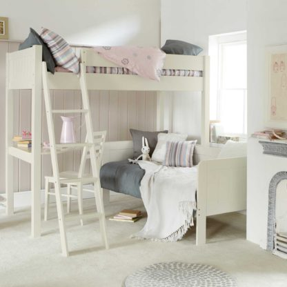 An Image of Pippin Childrens Highsleeper with Sofabed And Corner Desk