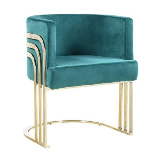 An Image of Lula Green Velvet Dining Chair With Gold Stainless Steel Legs