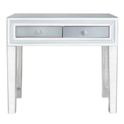 An Image of Quartz 2 Drawer Dressing Table, Grey Glass and Mirror