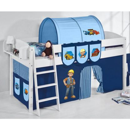 An Image of Lilla Children Bed In White With Bob The Builder Curtains