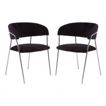 An Image of Tamzo Black Velvet Upholstered Dining Chairs In Pair