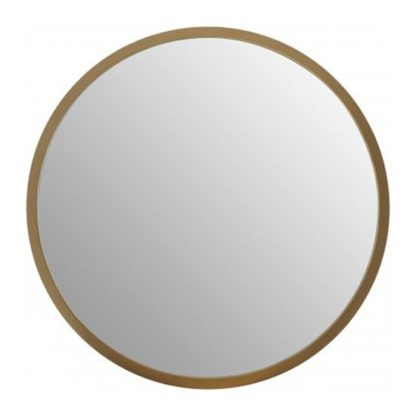 An Image of Athens Medium Round Wall Bedroom Mirror In Gold Frame