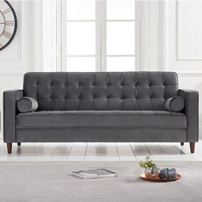 An Image of Revati Velvet Upholstered 3 Seater Sofa In Grey