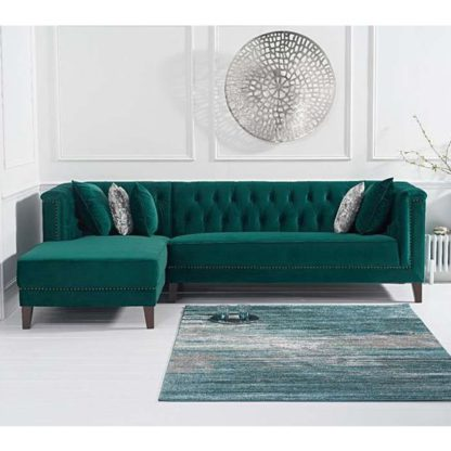 An Image of Tislit Velvet Left Facing Chaise Sofa Bed In Green