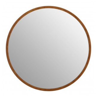 An Image of Siskin Round Wall Bedroom Mirror In Antique Gold Frame
