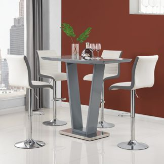 An Image of Ilko High Gloss Bar Table In Grey With 4 Ritz White Grey Stools
