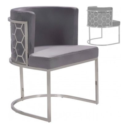 An Image of Meta Grey Velvet Dining Chairs In Pair With Silver Legs