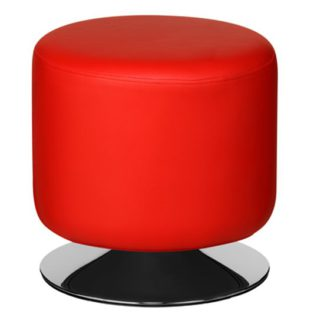 An Image of Ceko Faux Leather Cylinder Stool In Red