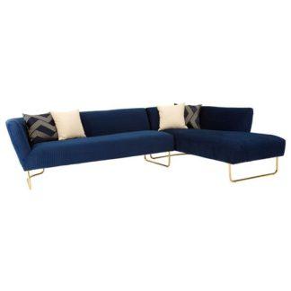 An Image of Reneey Velvet 5 Seat Corner Sofa In Dark Blue