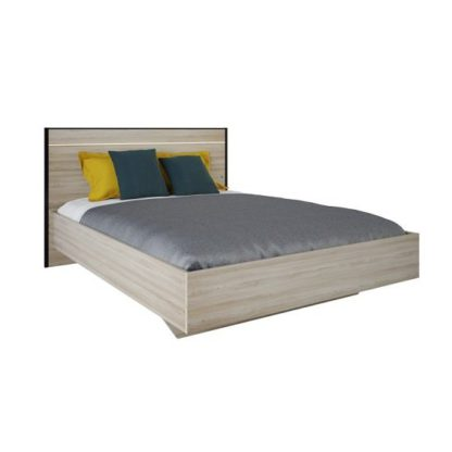 An Image of Estelle Wooden Double Bed In Shannon Oak With LED