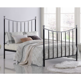 An Image of Vienna Metal King Size Bed In Black With Chrome Details