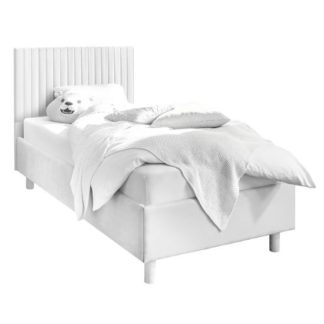 An Image of Altair Matt White Faux Leather Single Bed With Stripes Headboard