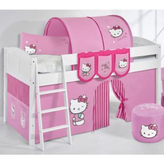 An Image of Hilla Children Bed In White With Kitty Pink Curtains