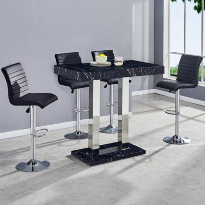An Image of Milano Gloss Marble Effect Bar Table 4 Ripple Black Stools