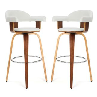 An Image of Savial White Leather Rotating Bar Chairs With Armrest In Pair