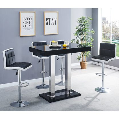 An Image of Caprice Glass Bar Table In Black With 4 Black White Copez Stools