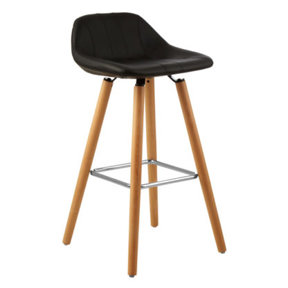 An Image of Porrima Faux Leather Bar Stool In Black