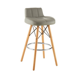 An Image of Porrima Faux Leather Effect Bar Stool In Grey