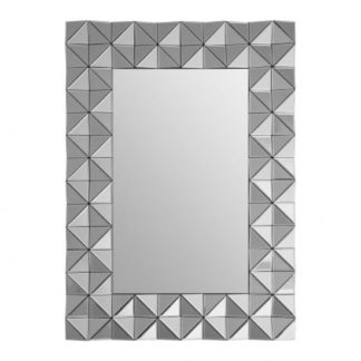 An Image of Soma Rectangular Wall Bedroom Mirror In Smoked Silver Frame