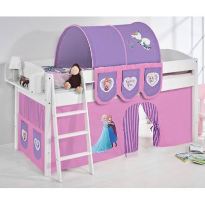 An Image of Lilla Children Bed In White With Frozen Purple Curtains