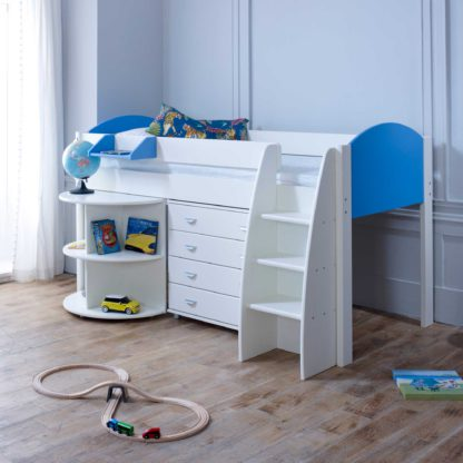An Image of Eli D Childrens Midsleeper Bed with pull out Desk and Chest