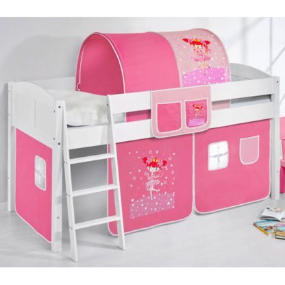 An Image of Hilla Children Bed In White With Princess Curtains