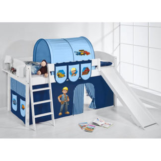 An Image of Lilla Slide Children Bed In White With Bob The Builder Curtains