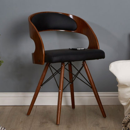 An Image of Tenova Black Faux Leather Bedroom Chair With Walnut Wooden Legs
