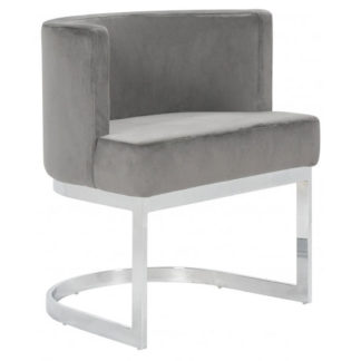 An Image of Lauro Grey Velvet Dining Chair With Silver Stainless Steel Legs