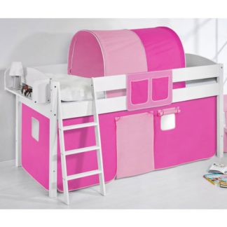 An Image of Lilla Children Bed In White With Pink Curtains