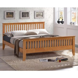 An Image of Turin Wooden Double Bed In Honey Oak