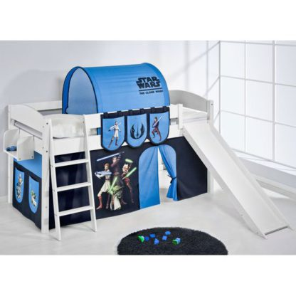 An Image of Lilla Slide Children Bed In White With Star Wars Clone Curtains
