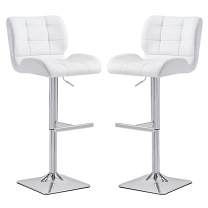 An Image of Candid White Faux Leather Bar Stool With Chrome Base In Pair