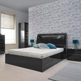 An Image of Devito Wooden Double Bed In Grey Gloss Grain Effect With LED