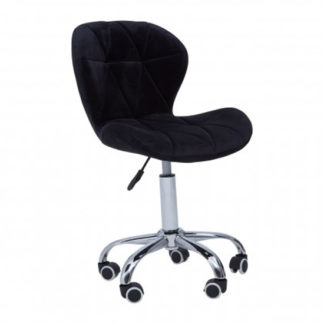 An Image of Sitoca Velvet Home And Office Chair In Black With Swivel Base