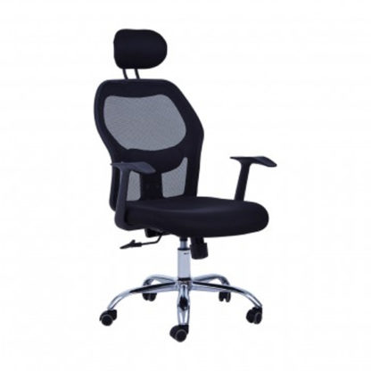An Image of Acona Rolling Home And Office Chair With Arms In Black