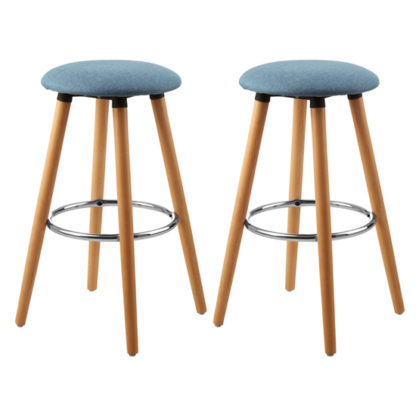 An Image of Porrima Blue Fabric Round Seat Bar Stools In Pair