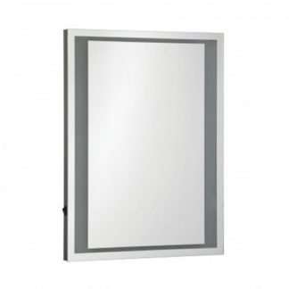 An Image of Oren LED Wall Bedroom Mirror In Silver Frame