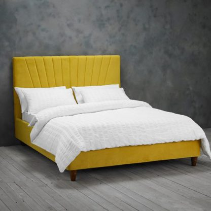 An Image of Lexie Double Fabric Bed In Mustard Yellow