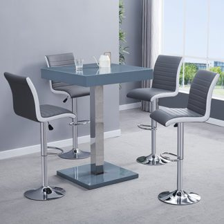 An Image of Topaz Glass Bar Table In Grey With 4 Ritz Grey White Stools