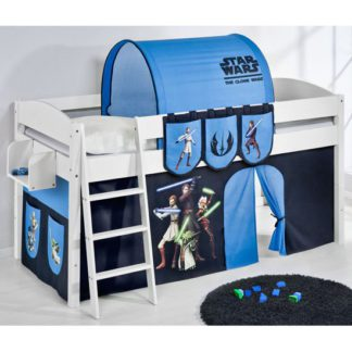 An Image of Lilla Children Bed In White With Star Wars Clone Curtains