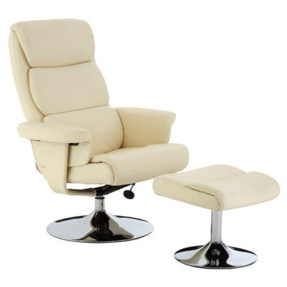An Image of Tenova Faux Leather Recliner Chair With Footstool In White
