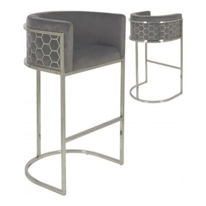 An Image of Meta Grey Velvet Bar Stools In Pair With Silver Legs
