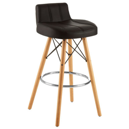 An Image of Porrima Faux Leather Effect Bar Stool In Black