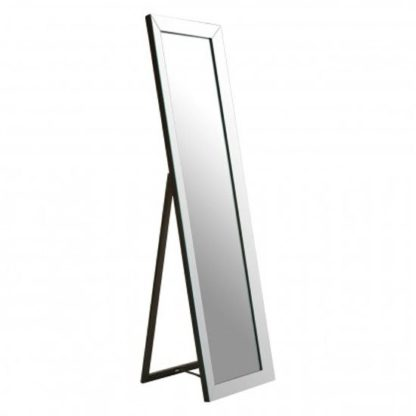 An Image of Zelman Floor Standing Cheval Mirror In Silver Frame